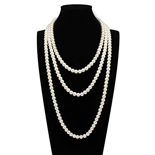 T-Doreen Cream Long Pearl Necklace for Women Girls 69 Inch Layered Strands Necklace ()