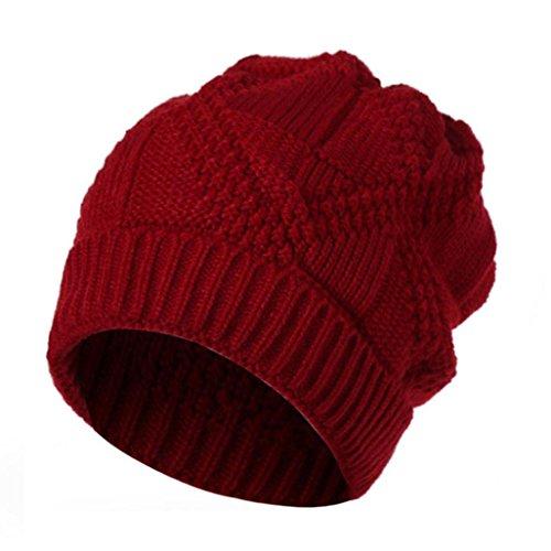 RNTOP Men Women Knit Baggy Beanie Oversize Winter Hat Ski Slouchy Chic Cap (Red)