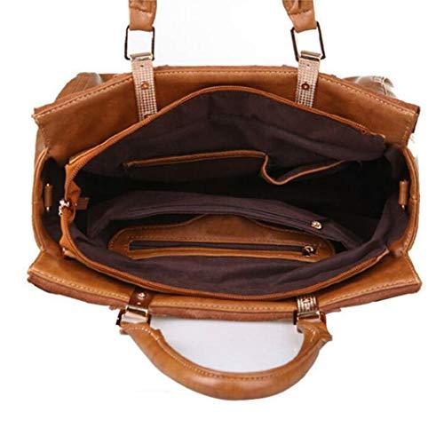 Cuero Tamaño Size marrón One de Negro Bolso Vendimia Bolso de Desmontable Color Hombro de la Bolsos Mensajero Bolso de 5awOxqqTU