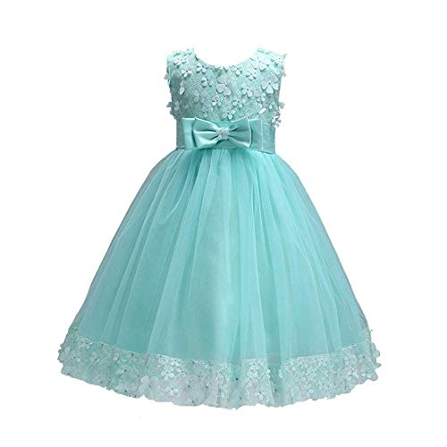 Weileenice 1-14 Years Big/Little Girl Flower Lace A-line Party Dresses (5-6Y, Apple Green)