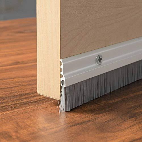 Deco Home Door Home Door Seal (1 Meter) Aluminium Plate with Nylon Brush-Ivory Matt (Home Decos)