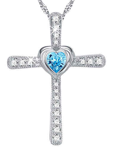 Birthday Gifts for Women March Birthstone Aquamarine Swarovski Pendant Heart God Cross Necklace Jewelry mothers day Anniversary Gift for Her for mom Sterling Silver