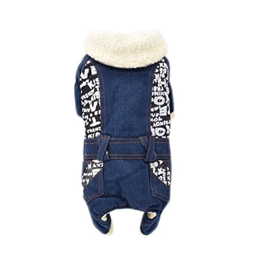 Fall and winter warm Jean style clothes pet clothing keep warm jacket (Black Pugs In Costumes)