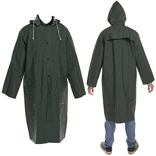 DiamondTitanMen's Waterproof Long Raincoat With Removable Hood PVC (Heavy Duty Rain Poncho)