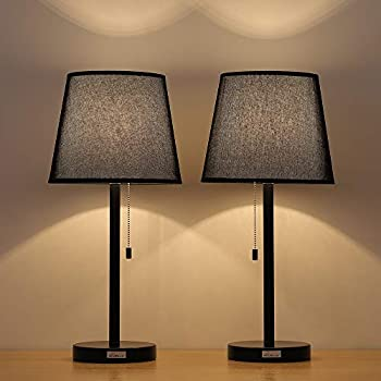 Haitral black bedside table lamps modern - Black table lamps for living room ...