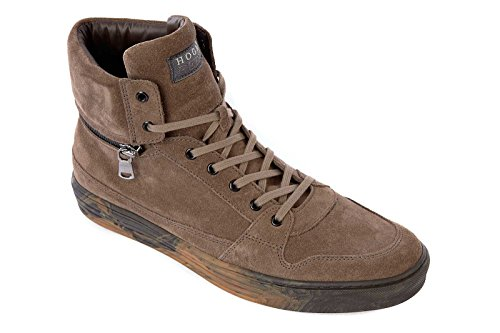 Hogan Rebel chaussures baskets sneakers hautes homme en daim rebel marron