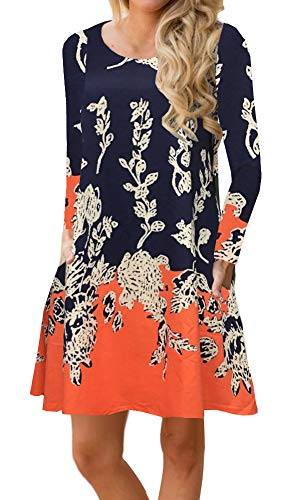 (ETCYY Women's Long Sleeve Floral Printed Casual Swing T-Shirt Dress with Pockets Orange)