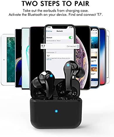 Wireless Earbuds, Bluetooth 5.0 Headphones in-Ear with Wireless Charging Case, 30Hrs Playtime, Touch Control, Waterproof Hi-Fi Stereo Wireless Earbuds with USB, Built-in Mic for Sports and Work