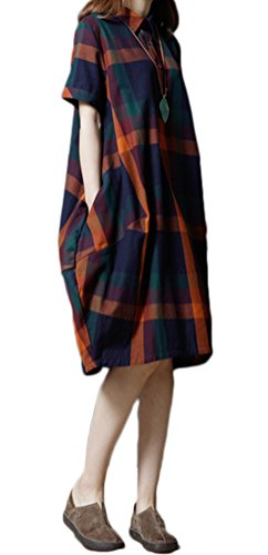 Women's Dress Button Soojun Orange Line A Front Cotton Pockets With Plaid Us gdgATq0