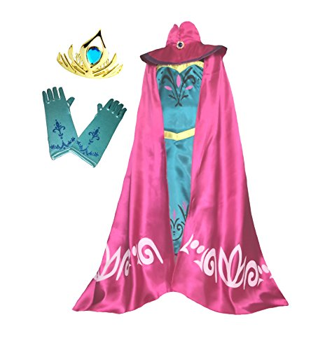 Cokos Box Elsa Coronation Dress Costume Cape Gloves Tiara Crown (8 Years, Teal)]()