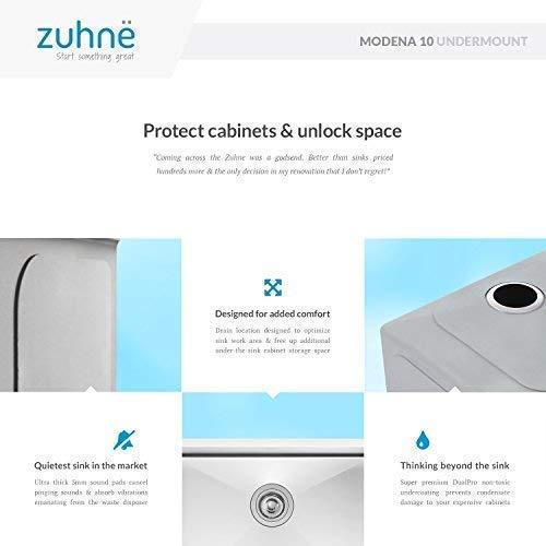Zuhne Modena 10 x 18 Inch Undermount Single Bowl 16 Gauge Stainless Steel Bar or Prep Kitchen Sink by Zuhne (Image #5)