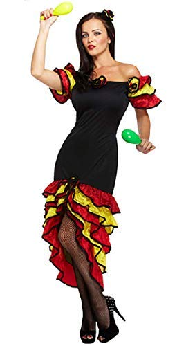 Ladies Sexy Spanish Flamenco Rumba Dancer Fancy Dress