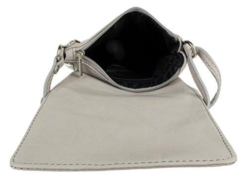 Girly Handbags - Bolso al hombro para mujer gris claro