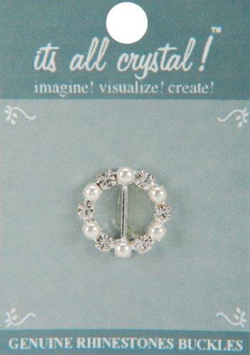 (Vision Trims Genuine Rhinestone Buckle 30mm Cirlce-Silver/Pearl)