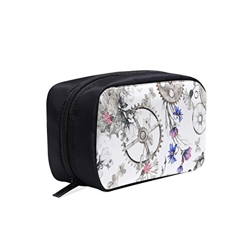 Clock With Blossoms And Butterfly Portable Travel Makeup Cosmetic Bags Organizer Multifunction Case Small Toiletry Bags For Women And Men Brushes Case Blossoms And Butterflies Clock