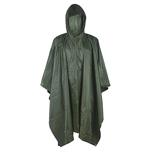 LOOGU Military Camouflage Rain Poncho for Outdoor Camping Hunting Hiking