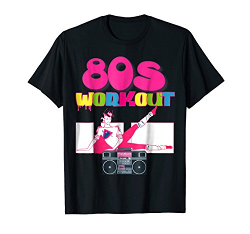 Mens Cute Neon Women 80s Workout TShirt Outfit Costume Top Medium Black -