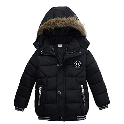 Goodkids Toddler Boys Down Jacket Winter Jacket Hooded Thickened Warm Snowsuit Coat Parka Outerwear Black, 2T/Tag 90