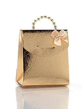 Amazon.com: 50 Gold Designer Gift Bags / Boxes with Pearl Handles ...