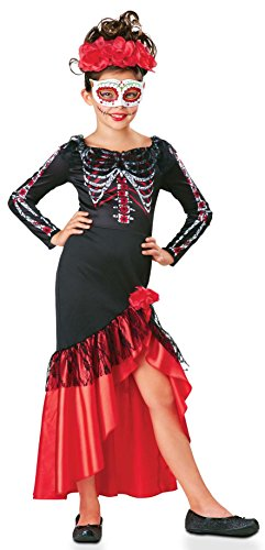 SEASONS DIRECT Halloween Girl's Day of The Dead Senorita Costume Includes Dress,Headpiece and Mask (4-6) -