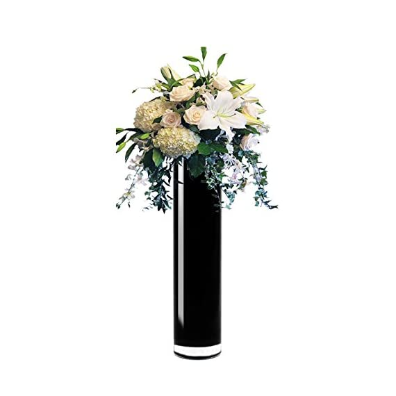 "CYS EXCEL Hand Blown-Black Glass Cylinder Vase, Flower Vase, Floating Candle Holder Wedding Decorative Centerpiece, Thickness 3/16th (4"" Wide x 20"" Tall) Pack of 4 - Thickness 3/16th (4"" Wide x 20"" Tall) Pack of 4, Flowers are not included Black Cylinder Vase, Hand Blown, High Quality, Height size deviation 0~0.25 inch The black vase is produced with an inlay process by forming a glob of molten black colored glass as the inner core then dipped into a coat of molten, clear glass on the exterior. - vases, kitchen-dining-room-decor, kitchen-dining-room - 41ti%2BybRY3L. SS570  -"
