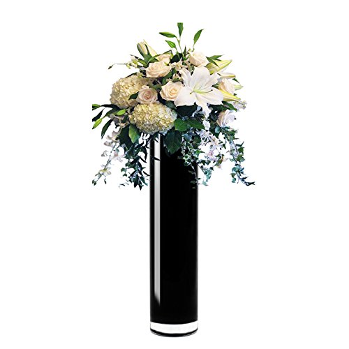 CYS EXCEL Hand Blown-Black Glass Cylinder Vase, Flower Vase, Floating Candle Holder Wedding Decorative Centerpiece, Thickness 3/16th (4