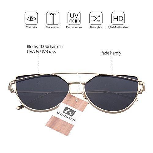 Or UV400 de Femmes Cyber soleil Lunettes rond Goggles hommes Punk qualité KINDOYO Steampunk pour Bleu rétro fnq6Swv1
