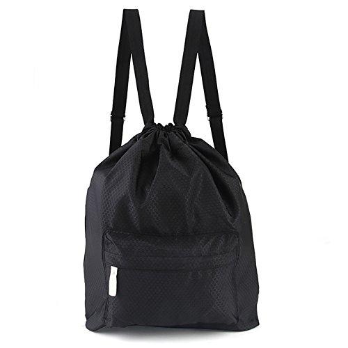 Cinch Nylon (Peicees Waterproof Drawstring Sport Bag Lightweight Sackpack Backpack for Men and Women(Black 2))