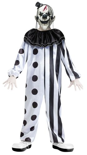 Fun World Boys Killer Clown Costume with Mask, Multicolor, Large (Womens Evil Clown Costumes)