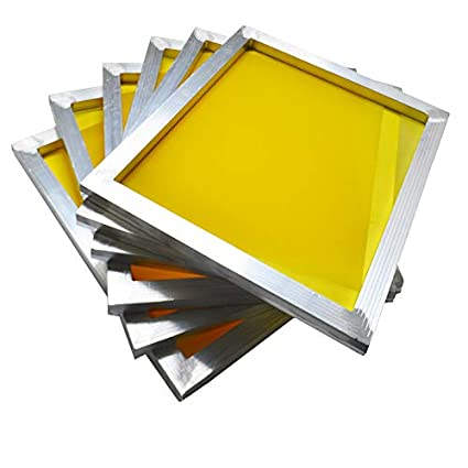 INTBUYING 6Pcs 15'x17' Screen Printing Frame Mesh Pre-Stretched Aluminum Frame (160 (64T) White Mesh)