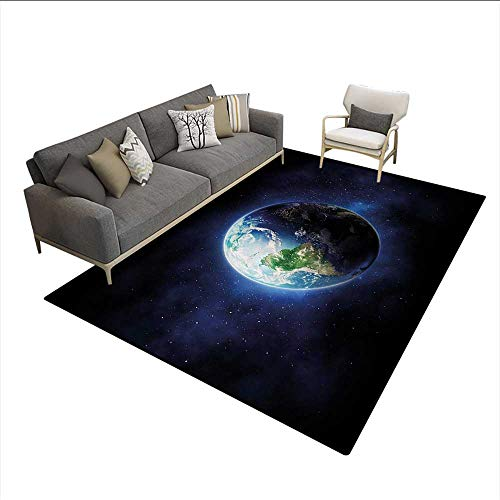 Carpet,Starry Outer Space View with Planet Earth Calm Silent Universe Galaxy,Non Slip Rug Pad,Dark Blue Green WhiteSize:5'x6'