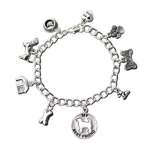(Dog Best Friend Charm Bracelet- Silver Plated Chain, Pewter Charms- Dog House, Bone, Paw - Size XS (6.5 Inches (Extra Small)))