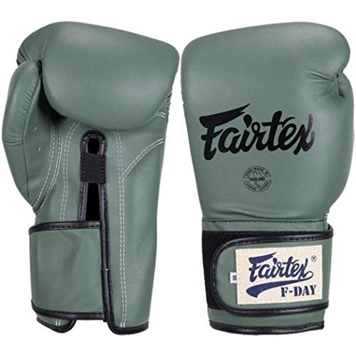 (Fairtex Muay Thai Boxing Gloves Limited Edition BGV11 F Day Military Green Size 10 12 14 16 oz Training & Sparring Gloves for Muay Thai Kick Boxing MMA K1 (Military)