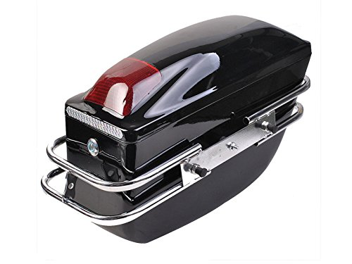 Comie 2 Pcs Motorcycle Cruiser Hard Trunk SaddleBags Luggage w/ Lights Mounted Chrome Rail Bracket Black by Comie (Image #3)