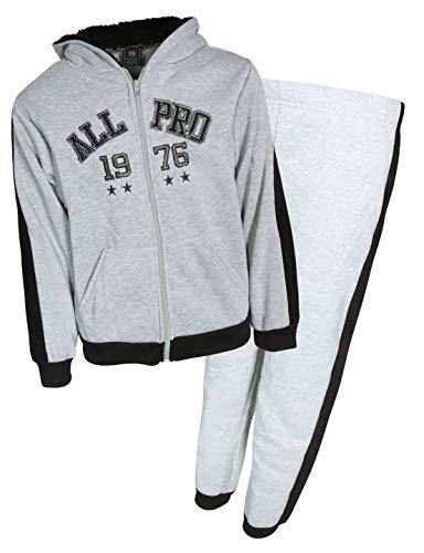 - Quad Seven Boys 2 Piece Sherpa Lined Fleece Set, Grey All Pro, Size 8/10'