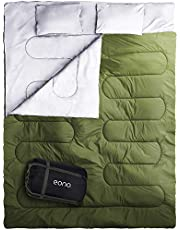Eono Essentials Double Sleeping Bag for Camping, Backpacking, Hiking, Tent, Camper Outdoor Queen Size XL Two Person Sleeping Bag 32F, Lightweight and Compack