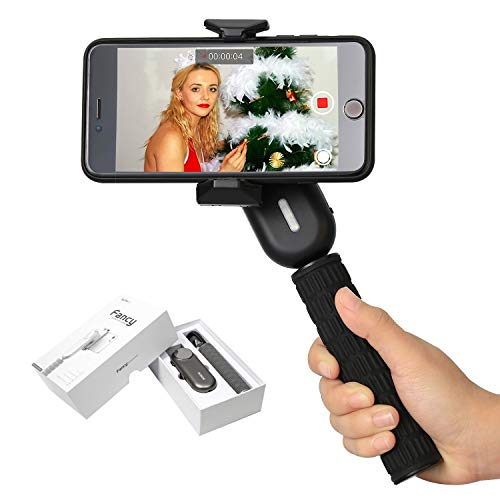Wewow Fancy Handheld Gimbal Stabilizer for Smartphones Like iPhone x 8 7 Plus 6 Plus Samsung Galaxy S8+ S8 S7 S6 S5 Vertical Shooting Portable LED fill flash Self-timer mirror (Black)