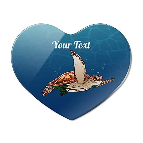 Personalized Custom 1 Line Sea Turtle Heart Acrylic Fridge Refrigerator Magnet