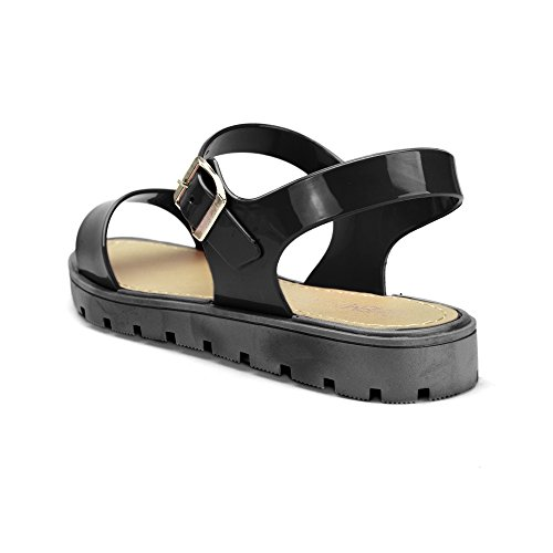 Chemistry® FENDI Womens Roman Gladiator Thong Adjustable Ankle Strap Flip Flop Flat Sandals Black Cw9wbu