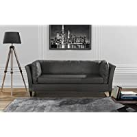 Modern Club Style Bonded Leather Living Room Sofa (Grey)
