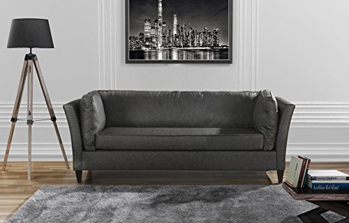 Modern Club Style Bonded Leather Living Room Sofa (Grey) (Style Living Furniture Room)