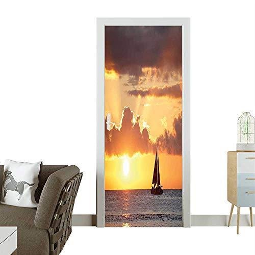 Homesonne Door Decals Boat The Ocean Sky at Beautiful Sunset Digital Image Grey Mar Pressure resistantW32 x H80 INCH