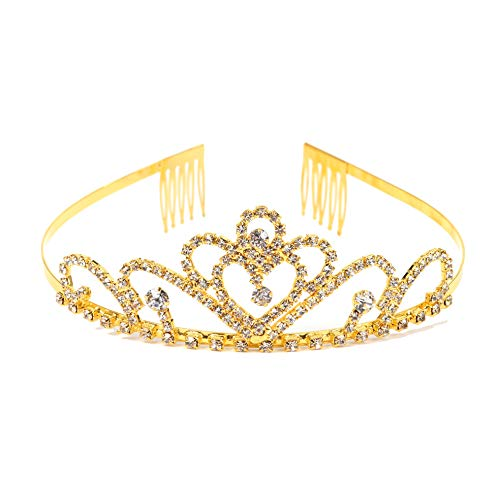 (Gold Costume princess crown With Comb Pin For Girls & Women Crystal Bridal wedding)