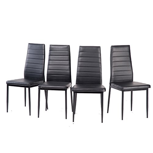 Merax Set of 4 Dining Room Chairs Leatherette Home Furniture Kitchen Side Chairs (Black NO-5) (Chairs For Sale)