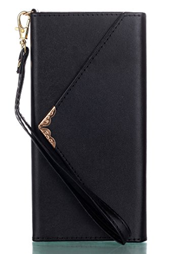 XRPow Galaxy S8 Plus Wallet Plus Case, Slim Flip Folio Wallet Cover PU Leather with Credit Card Holder Wrist Strap Shockproof Protective Case for Samsung Galaxy S8 Plus Black