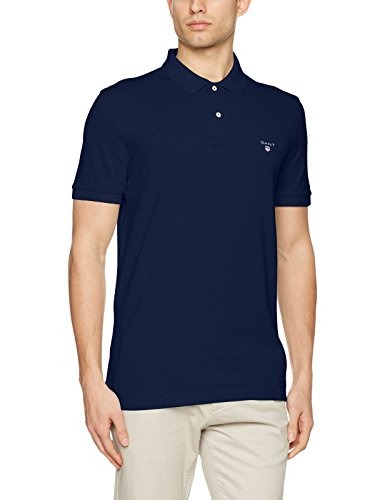 GANT Men's Classic Short-Sleeve Piqué Polo, Evening Blue, L