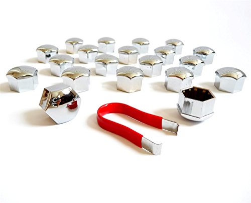 (20) 17mm Chrome Lug Nut Lug Bolt Cap Covers + Extraction Puller Tool ~ Perfect Fit for ()