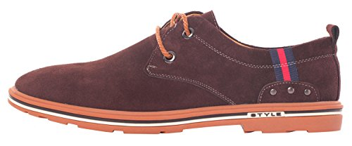Runday Mens Spring Round Toe Lace Up Casual Breathable Suede Fashion Oxfords Brown zW34bO3vPu
