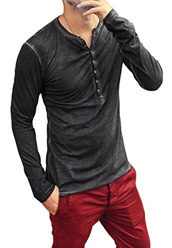 - AITFINEISM Mens Summer Casual V-Neck Button Cuffs Cardigan Long Sleeve T-Shirts (Large, Black)