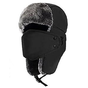 Mysuntown Unisex Winter Trooper Trapper Hat Hunting Hat Ushanka Ear Flap Chin Strap with Windproof Mask